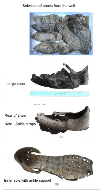 Leather shoes from the Roman well